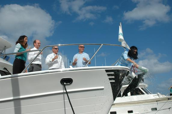 New 700 MY Christened At 2017 Palm Beach Boat Show