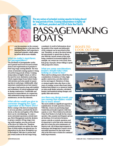 Passagemaking Boats