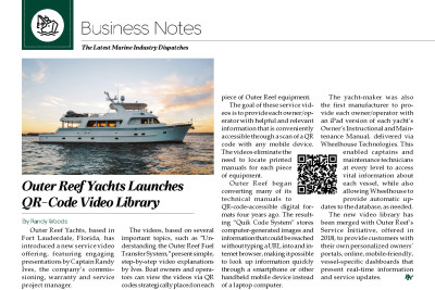 Northwest Yachting Article - Outer Reef Yachts Launches QR Code Video Library