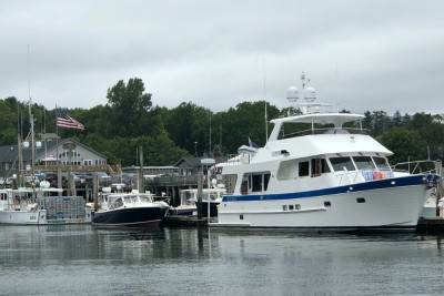 Outer Reef 610 Motoryacht Owners Visit Southwest Harbor, Maine, US